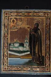 Икона с изображением преп. Варлаама Хутынского. Россия,  ХIХ век