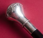 Антикварная трость с изящной серебряной рукоятью. Арт-Деко. 1900-е гг.