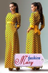 Длинное жёлтое платье в горошек