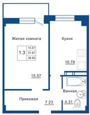 1-к квартира,  38, 9м2,  на берегу Невы за 1 633 000р.