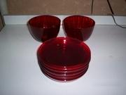набор для пасхального стола из красного стекла Чехословакия